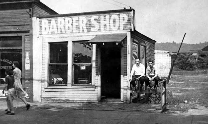 Middle Row: left, Harold, Sr. age 23, in 1926 at the Hampson Barber ...